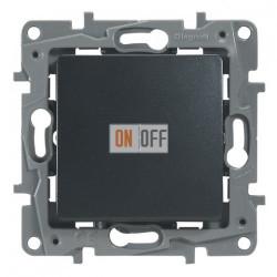 Legrand Etika Антрацит Выключатель 1-клавишный с подсветкой/индикацией, авт.клеммы, 10 AX, 250 В 672603