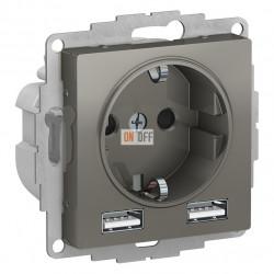 SO + USB РОЗЕТКА A+A, 5В/2,4 А, 2х5В/1,2 А, механизм, сталь