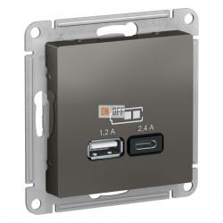 USB РОЗЕТКА A+С, 5В/2,4 А, 2х5В/1,2 А, механизм, сталь