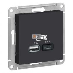 USB РОЗЕТКА A+С, 5В/2,4А, 2х5В/1,2 А, механизм, карбон