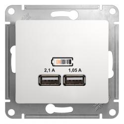 USB розетка двойная, 5В/2100мА, 2х5В/1050мА, механизм, белый