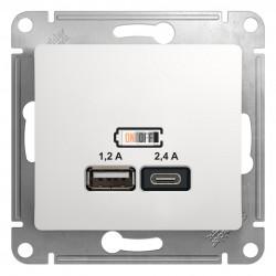 USB РОЗЕТКА A+С, 5В/2,4 А, 2х5В/1,2 А, механизм, белый