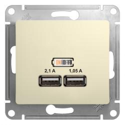 USB розетка, 5В/2100мА, 2х5В/1050мА, механизм, бежевый