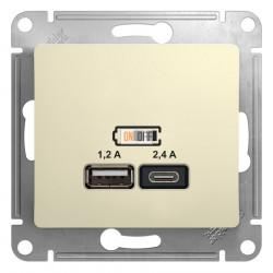 USB РОЗЕТКА A+С, 5В/2,4А, 2х5В/1,2 А, механизм, бежевый
