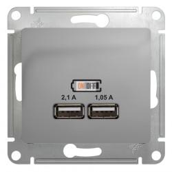 Розетка USB type-A, 2.1А USB (зарядка 5В), двойная, цвет: алюминий