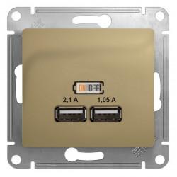 Glossa Розетка USB type-A, 2.1А, USB (зарядка 5В), двойная, цвет: титан