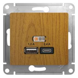 USB РОЗЕТКА A+С, 5В/2,4А, 2х5В/1,2 А, механизм, дуб