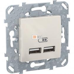Unica 2 USB зарядное устройство, 2.1А кремовый