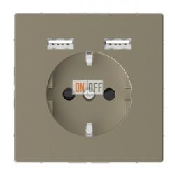 Розетка Schuko с 2 USB c зарядным устройством 2,4 A сахара