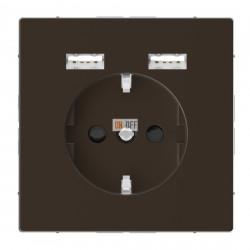 Розетка Schuko с 2 USB c зарядным устройством 2,4 A мокко