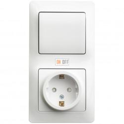 Блок: розетка с заземлением со шторками + 1-клавишный выключатель, белый