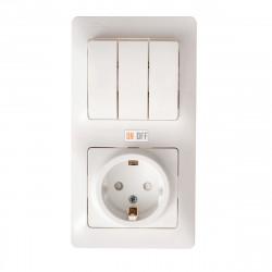 Блок: розетка с заземлением со шторками + 3 клавишный выключатель, белый