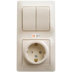 Блок: розетка с заземлением со шторками + 2-клавишный выключатель, бежевый
