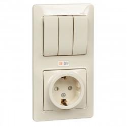 Блок: розетка с заземлением со шторками+ 3 клавиши выключатель, бежевый