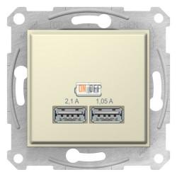 USB МЕХАНИЗМ зарядного устройства 2,1А (2x1,05А), бежевый