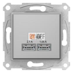 USB МЕХАНИЗМ зарядного устройства 2,1А (2x1,05А), цвет: алюминий
