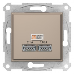 USB МЕХАНИЗМ зарядного устройства 2,1А (2x1,05А), цвет: титан