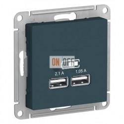Розетка USB двойная для зарядки Schneider Electric Atlasdesign 2,1А, изумруд