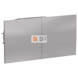 Розетка двойная с заземлением со шторками с развижной крышкой в сборе Schneider Atlasdesign, алюминий
