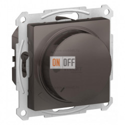Светорегулятор поворотно-нажимной 315Вт Schneider Atlasdesign, мокко