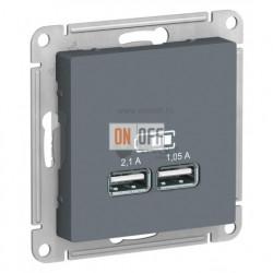 Розетка USB двойная для зарядки Schneider Electric Atlasdesign 2,1А, грифель