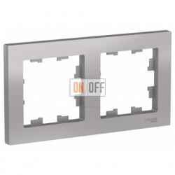 Рамка двойная Schneider Electric Atlasdesign, алюминий