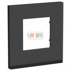 Рамка одинарная Schneider Electric Unica Pure, черное стекло-антрацит
