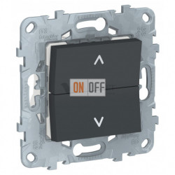 Кнопочный выключатель управления для жалюзи и рольставней 6А/250 В~ Schneider Unica New, антрацит