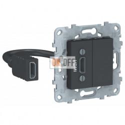 Розетка HDMI одинарная с выносным разъемом Schneider Unica New, антрацит