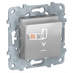 Карточный выключатель с подсветкой без задержки времени 10А/250 В~ Schneider Unica New, алюминий