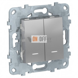 Переключатель двухклавишный на два направления с подсветкой 10А/250 В~ Schneider Unica New, алюминий