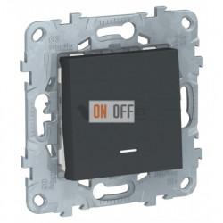 Кнопочный выключатель одноклавишный с подсветкой 10А/250 В~ Schneider Unica New, антрацит