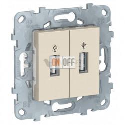 Розетка USB двойнаядля передачи данных Schneider Unica New, бежевый