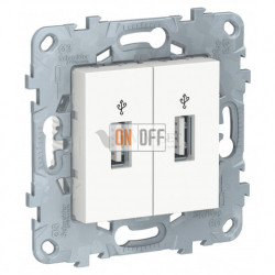 Розетка USB двойнаядля передачи данных Schneider Unica New, белый