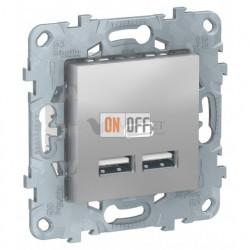 Розетка USB двойная для зарядки 2,1А Schneider Unica New, алюминий