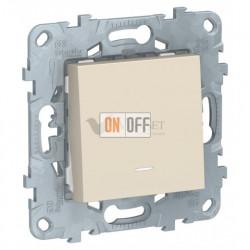 Кнопочный выключатель одноклавишный с подсветкой 10А/250 В~ Schneider Unica New, бежевый