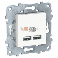 Розетка USB двойная для зарядки 2,1А Schneider Unica New, белый