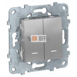 Выключатель двухклавишный с подсветкой 10А/250 В~ Schneider Unica New, алюминий