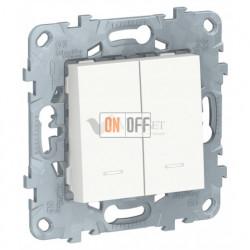 Выключатель двухклавишный с подсветкой 10А/250 В~ Schneider Unica New, белый