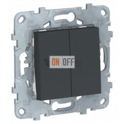 Выключатель двухклавишный перекрестный (из 3-х мест) 10А/250 В~ Schneider Unica New, антрацит