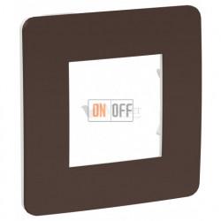 Рамка одинарная Schneider Electric Unica Studio Color, шоколад-белый