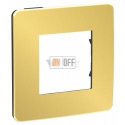 Рамка одинарная Schneider Electric Unica Studio Metal, золото-антрацит