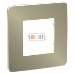 Рамка одинарная Schneider Electric Unica Studio Metal, бронза-белый