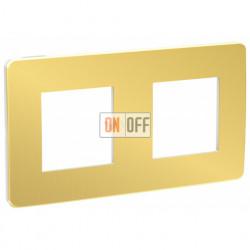 Рамка двойная Schneider Electric Unica Studio Metal, золото-белый