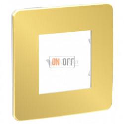 Рамка одинарная Schneider Electric Unica Studio Metal, золото-белый