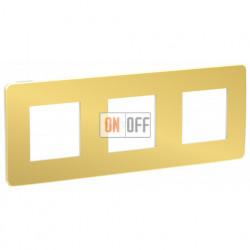 Рамка тройная Schneider Electric Unica Studio Metal, золото-белый