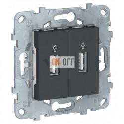 Розетка USB двойная для передачи данных Schneider Unica New, антрацит