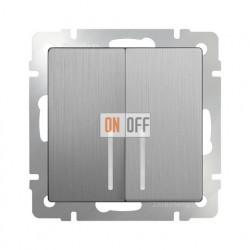Выключатель двухклавишный проходной с подсветкой Werkel 10A/250В (из 2-х мест), серебряный рифленый