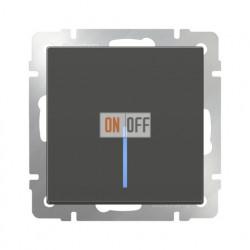 Выключатель одноклавишный проходной с подсветкой Werkel 10A/250В (из 2-х мест), серо-коричневый