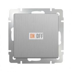 Выключатель одноклавишный проходной Werkel 10A/250В (из 2-х мест), серебряный рифленый
